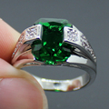 Men's Silver Big Oblong Green Lab Created Emerald CZ Stone Ring Eternity Jewelry