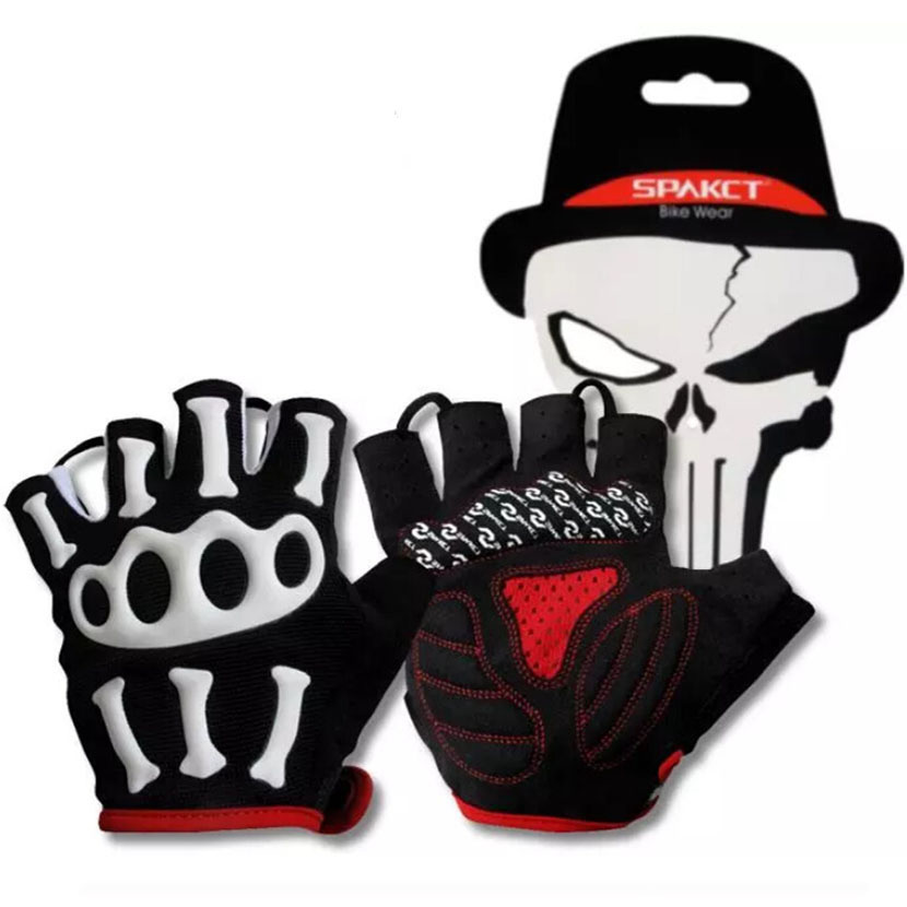 New SPAKCT Silicone GEL Bike gloves anyi slip Bicycle Half Finger Skull sport Cycling Gloves for mtb riding motorcycle mountain