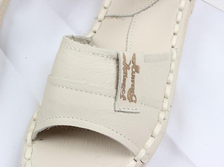 Baru 2016, Sandal Kulit Asli, sepatu putih buatan tangan murni, - Sepatu Wanita - Foto 2