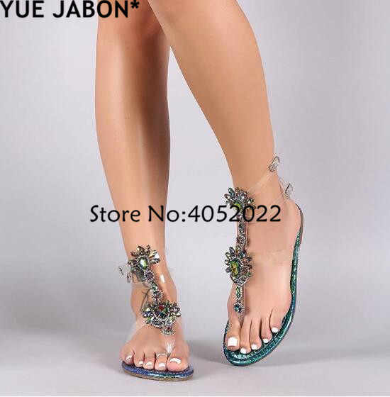 8984baac0b 2018 Woman Sandals Women Shoes Rhinestones Gladiator Flat Sandals Crystal  Chaussure Plus Size 43 tenis feminino Green Flip Flops