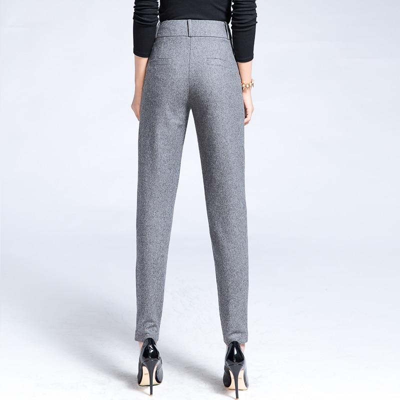 Femmes Casual Hiver Carotte Automne Robe Crayon Laine Mode Chaud Gris Pantalon Maigre Slim Dames Vêtements qxCIYxwfA