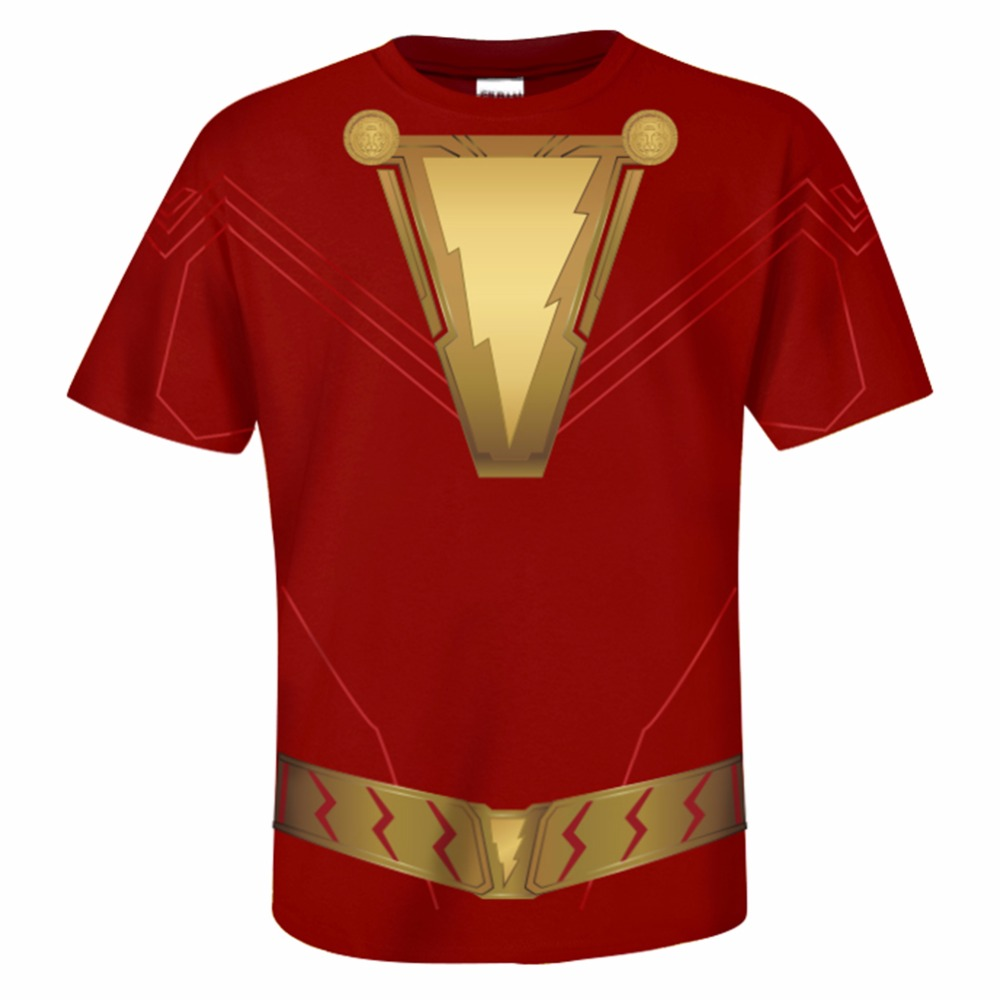 aa8b7031 Shazam T-Shirt DC Superhero Cosplay Shazam Tshirt Short Sleeve Print O-Neck  Top Tee Summer Casual Shirt Men Adult