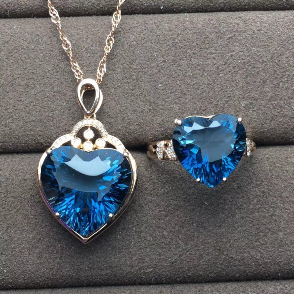 gemstone jewelry factory wholesale classic luxury 18k gold natural blue topaz heart ring pendant necklace jewelry set for womengemstone jewelry factory wholesale classic luxury 18k gold natural blue topaz heart ring pendant necklace jewelry set for women