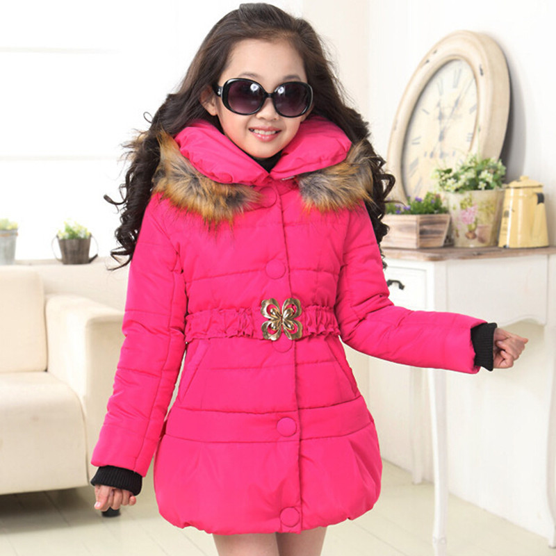 2017 Brand Girls Winter Warm Christmas Snow With Thick Cotton-Padded Long Jacket Kids Winter Long Sleeve With Fur Collar Coat 2017 winter kid super large raccoon fur collar jacket girls pink hooded cotton jacket high quality kids thick warm coat 17n1120