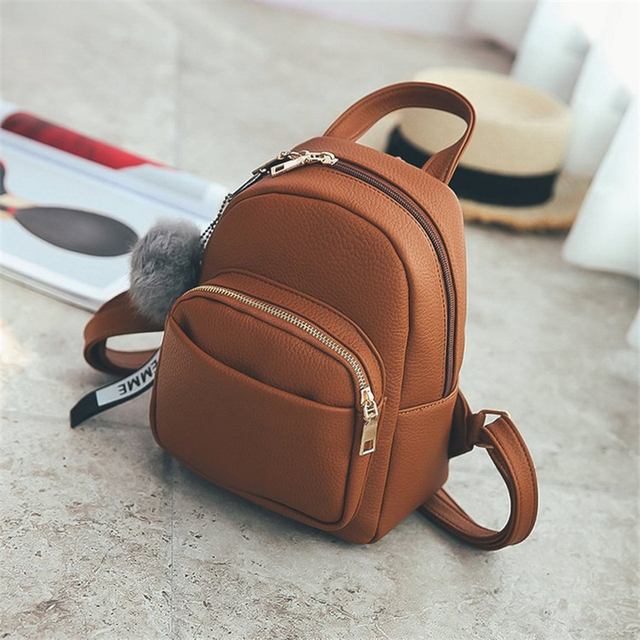 Miyahouse Women Soft PU Leather Mini Backpacks Students Fuzzy Ball Pendant Shoulder Schoolbags Fashion Small Travel Bags Mochila