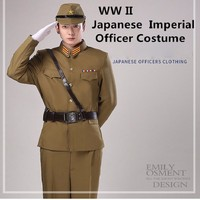 WW II Japanese Imperial officer Traditional vintage green uniform japanese military costume WW2 Japanese Military Uniform Japan