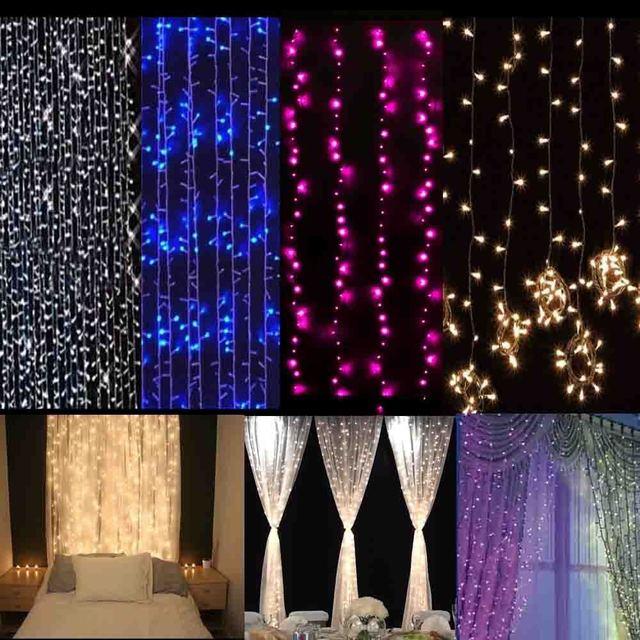 3Mx3M 300leds Led Curtain String Fairy Light 300bulb LED Outdoor Wedding Home Garden Party Garland Decor 110V 220V EU US Plug
