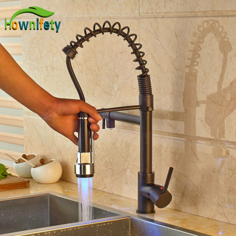Widespread LED Light Spring Kitchen Faucet Oil Rubbed Bronze Pull Out Sprayer Mixer Tap цена