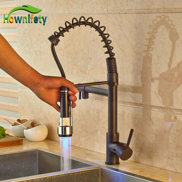 Widespread Led Light Spring Kitchen Faucet Oil Rubbed Bronze Pull Out Sprayer Mixer Tap