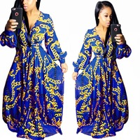 Adogirl Full Sleeve V Neck Swing Maxi Dress Autumn Winter Women Vintage Print Western Style Loose