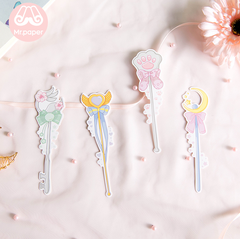Mr Paper 30pcs/box Cartoon Dreamy Pink Fairy Wand Irregular Bookmarks for Novelty Book Reading Maker Page Paper Bookmarks Gifts 3