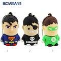 Sovawin original dos desenhos animados personagem superman pvc usb pen drive 64 gb 32 gb 16 gb criativo superhero memory stick mini presentes legal