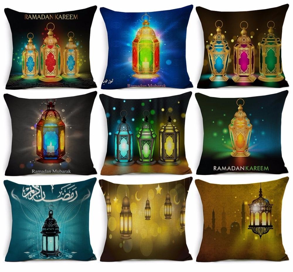 Ramadan Kareem Lantern Pillow Cover Islamic Fantastic Colorful Lights Art Cushion Covers Decorative Beige Linen Pillow Case