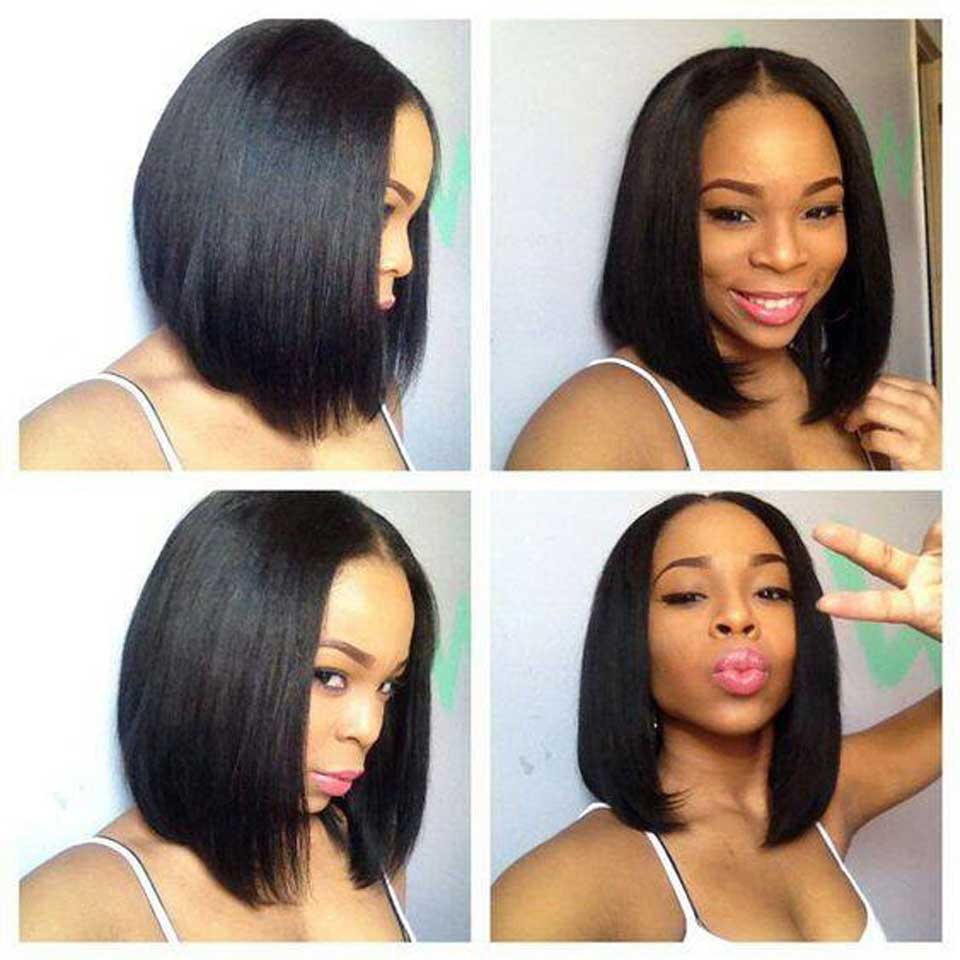 Short 13*6 Lace Front Straight Bob Human Hair Wig Lace Front Peruvian Wigs With Closure Lace Wigs Human Hair With Baby Hair(China)