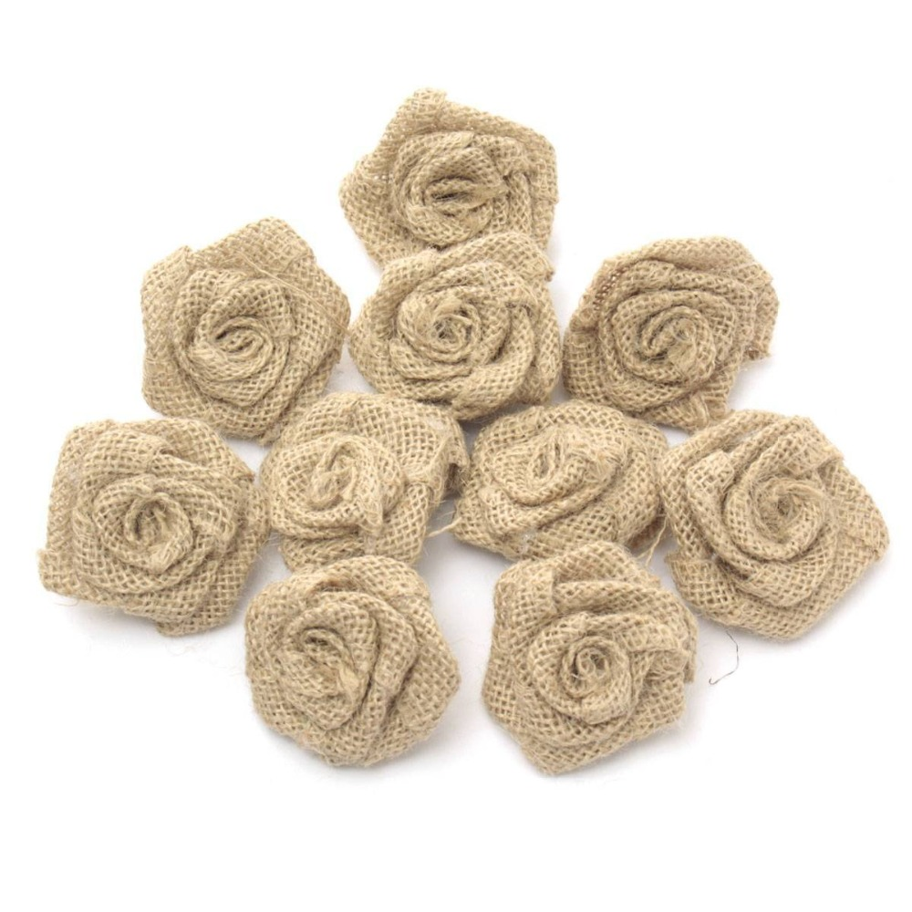 Pack of 10 55cm vintage rustic rose flower burlap hessian jute pack of 10 55cm vintage rustic rose flower burlap hessian jute wedding decoration natural color aa8050 in party diy decorations from home garden on izmirmasajfo