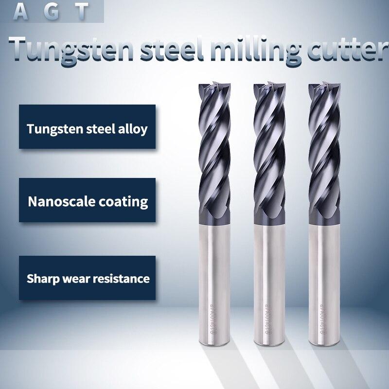 1PCS Cutting HRC55 4 Flute Fraise Carbure Freze Ucu Cnc Tungsten Steel Milling Cutter End Mill Alloy Carbide Metal Milling Tools