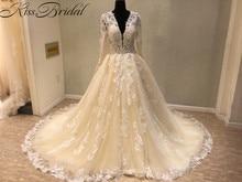 Купить с кэшбэком New Trend 2018 Luxury Wedding Dresses A-line Light Champagne Vintage Lace Bride Wedding Gowns Sexy Deep V-neck Dress Bride