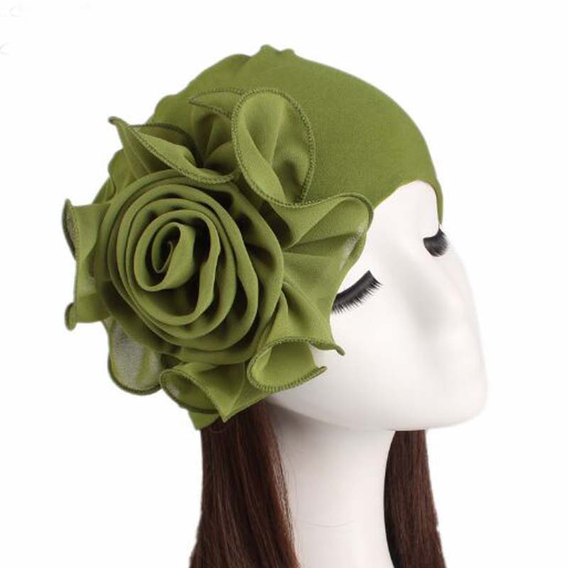 XEONGKVI NewSide Big Flower Bamboo Fiber Stretch Cloth   Skullies     Beanies   Fashion Spring Autumn Women Hat Elegant Chemotherapy Cap