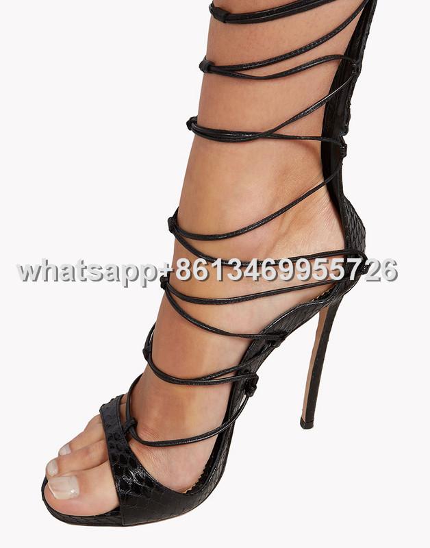 78d9d6d62a5 Sexy Lace Up Over Knee High Gladiator Sandals Back Zipper High Heels ...