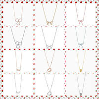 SHINETUNG 1:1 S925 Sterling Silver Genuine TIFF Paper Flowers Bowknot Open Heart Pendant Necklace Women Fine High End jewelry