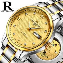 ONTHEEDGE zegarek mężczyźni luksusowe wodoodporna mechaniczne luksusowe szkielet zegarek z naciągiem automatycznym męskie mechaniczne własna wiatr zegarki w Zegarki mechaniczne od Zegarki na