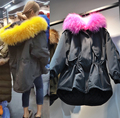 2016 Moda Inverno Mulheres Casaco de Inverno Casaco de Algodão Com Capuz de Pele De Guaxinim das Mulheres de Rua Verde Do Exército Parkas Outwear Inverno Quente jaqueta