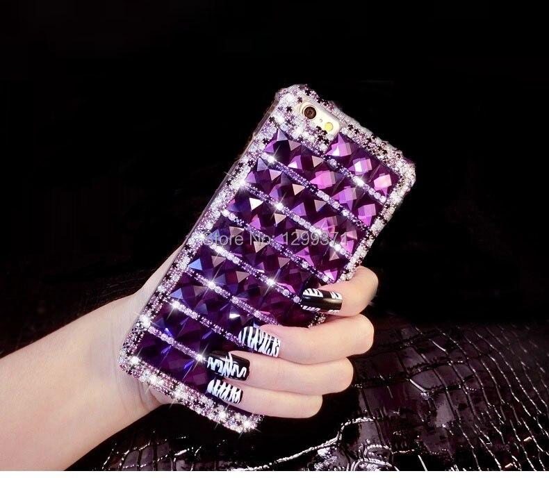 בלינג יהלום סגול הטלפון מקרה עבור iPhone 6 7 6S Plus 5 5S SE 5C 4S סמסונג גלקסי 7 5 4 3 2 S7 S6 Edge בנוסף S5/4/3 A8/7/5