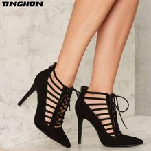цены TINGHON  Summer Rome Solid Color Cross Straps Pumps Women Sandals sexy High Heels Fashion Thin Zipper Party Woman Hollow Shoes