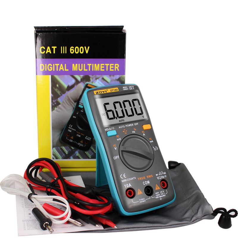 Battery Drives Portable Digital Multimeter With True Rms For The 6000 Word Display LCD Display Clear Backlight Temperature