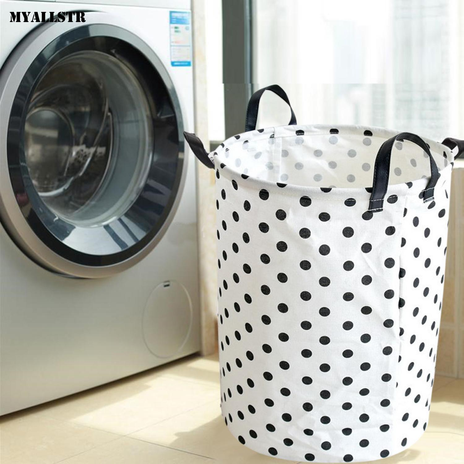 Foldable Waterproof Laundry Basket Toys Storage White Black Indoor Bucket 300g Dot