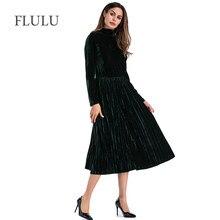 FLULU Autumn Dress Women 2018 Casual Vintage Solid Long Sleeve Velvet Dress  Female Elegant Party Dresses Vestidos Plus Size 2XL bcb756eb756e