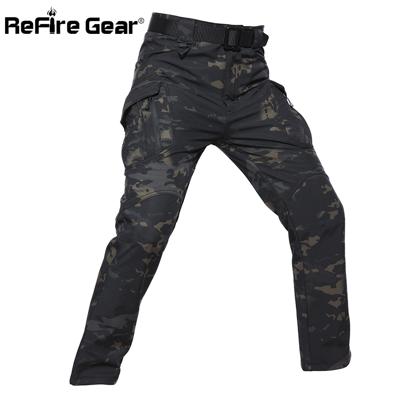 ReFire Gear IX9 Style Soft Shell Tactical Camouflage Pants Men Waterproof Military Cargo Fleece Pants Winter Warm Army Trousers
