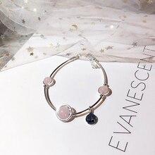 Ruifan корона, натуральный розовый кварц, Настоящее серебро 925 пробы, браслеты для женщин, женский счастливый очаровательный браслет, ювелирное изделие YBR034