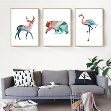 Nordic Geometric Animals Canvas Painting Deer Bear Flamingo Oil Poster Print Art Wall Pictures for Living Room No Frame