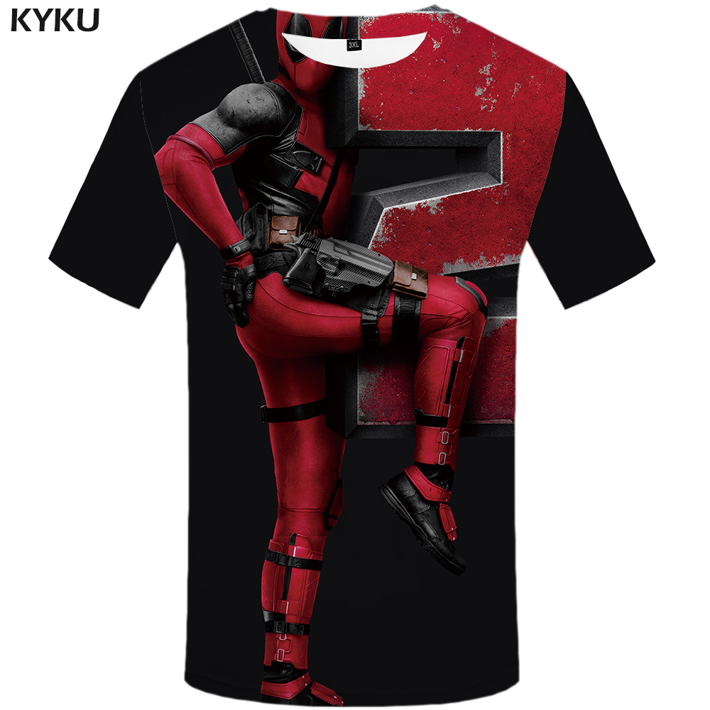 Lustige T Shirts Deadpool T-shirt Männer Comic Hemd Druck Badass T-shirts Casual Schwarz T-shirts 3d Gothic Anime Kleidung Kurzarm Fein Verarbeitet Schmuck & Zubehör