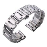 الصلبة 316l الفولاذ الصلب watchbands الفضة 18 ملليمتر 20 ملليمتر 21 ملليمتر 22 ملليمتر 23 ملليمتر 24 ملليمتر معدن ساعة الفرقة الشريط ساعات المعصم سوار