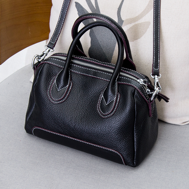 High Quality Simple Style Cow Leather Women Bags 100% Genuine Leather Handbag Boston Tote Bag Shoulder & Crossbody Bag phedera europe style women tote bags high quality genuine leather female handbag simple fashion real leather brown women handbag