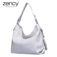 3af7fe3e0 Soft Real Genuine First Layer Cow Leather Office Lady Woman Handbag Tote  Bag 2 Tassel Free