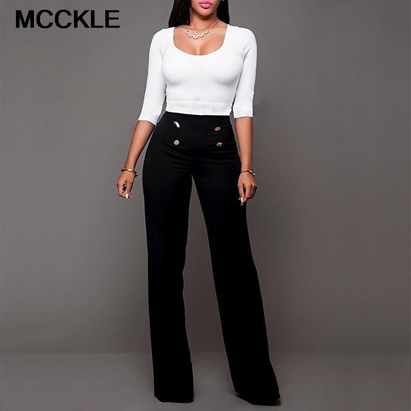 Women's High Waist   Wide     Leg     Pants   Solid Double Breasted Office Lady Trousers For Women 2019 Spring Summer Loose Clothes Female