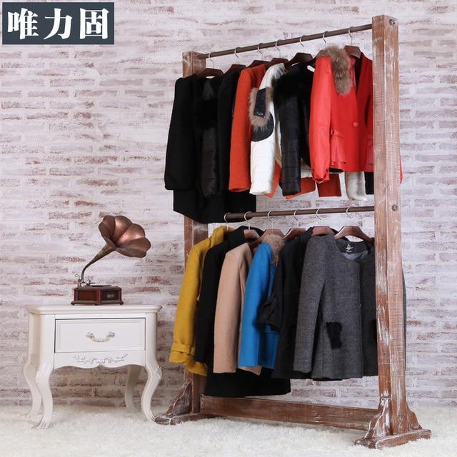 Weili sólido doble estante que cuelga la boda tienda de ropa vintage ...
