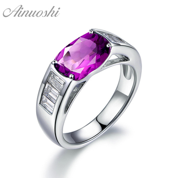 AINUOSHI Classic Natural Amethyst Ring 4 Carat Oval Cut Gemstone Engagement Party Jewelry Genuine 925 Sterling Silver Women Ring