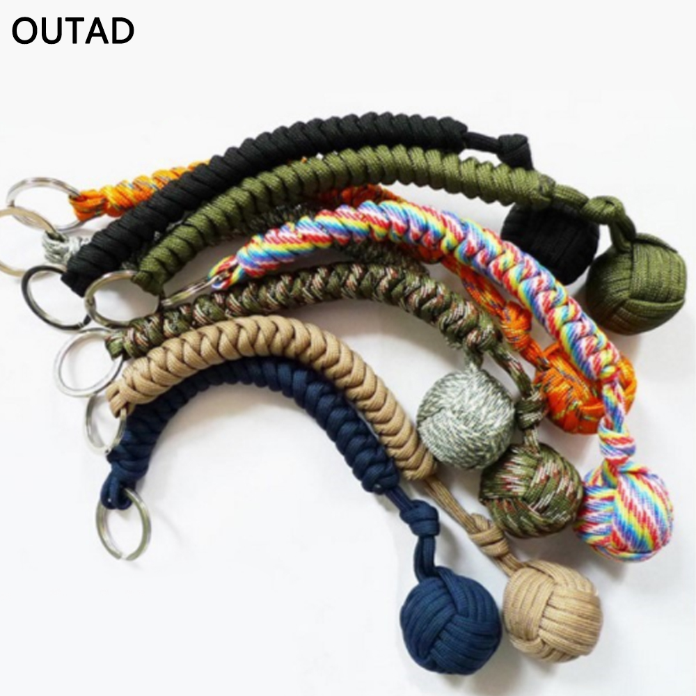 Outdoor Security Protecting Rope Monkey Fist Multicolor Ball Bearing Rope Self Defense TooL Lanyard Survival Key Chain For Girl ...