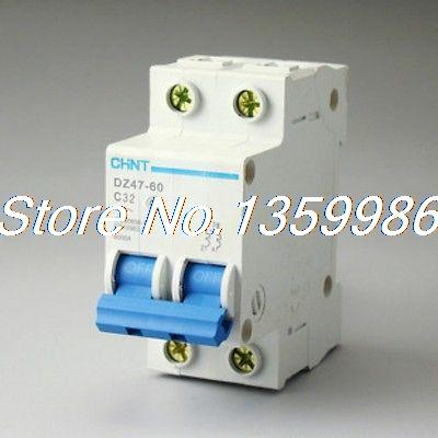 10P DZ47-60 C32 AC230/400V 2P 32A Rated Current 2 Pole Miniature Circuit Breaker