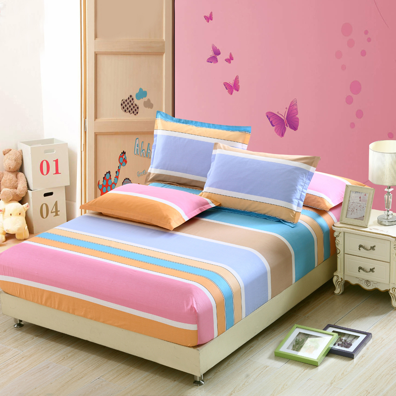 Color stripes bedding for adult children Bed Covers Mattress Cover fitted Sheet pillows 100% Cotton twin full queen king size