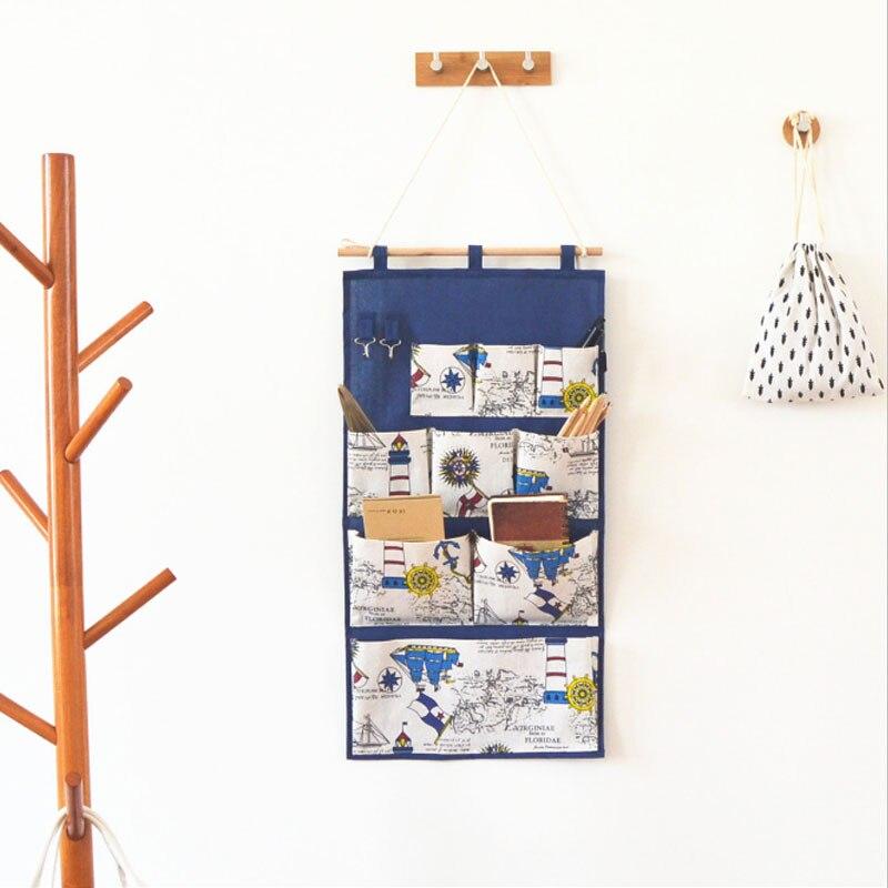 Bolsa de almacenamiento de 9 bolsillos de tela de algodón y lino con 2 ganchos, bolsa colgante para puerta de pared, bolsa organizadora de estilo británico para dormitorio y baño Maceta para flor de autorriego, plantador de pared Vertical apilable, duradera para jardín, balcón GQ999