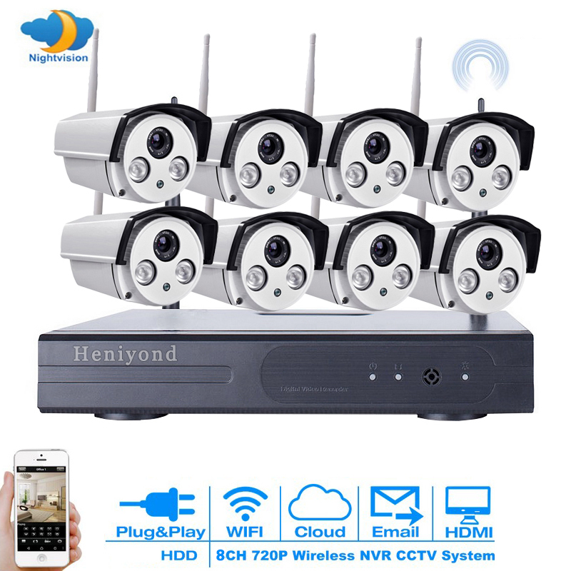 1MP CCTV System 720P 8CH HD Wireless NVR kit 3TB HDD Outdoor IR Night Vision IP Wifi Camera Security System Surveillance escam wnk803 720p cctv system 8ch hd wireless nvr kit outdoor ir night vision ip wifi camera security system surveillance