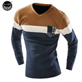 Male 2017 Men'S Mixed Colors Sweater Men Leisure Slim Pull Homme V-Neck Long-Sleeved Sweater Solid Sweater Men XXL