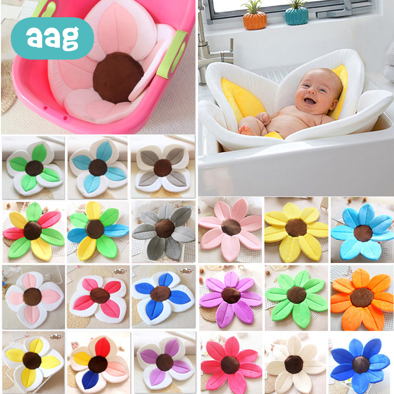 AAG Baby BathTub Newborn Shower Cushions Bed Baby Bathtub Stand Support Mat Baby Seat Chair Anti-slip Flower Blooming Sink