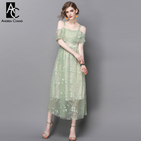 Spring Summer Runway Designer Womans Dresses Light Green Gauze Dress Floral Embroidery Ankle Length Off Shoulder