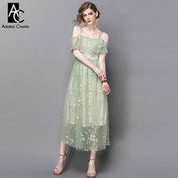 Spring Summer Runway Designer Womans Dresses Light Green Gauze Dress Floral Embroidery Ankle Length Off Shoulder